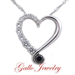 PEN00793A. Ladies Black & White Diamond Heart Pendant