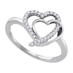 90311. Sterling Silver Ladies Diamond Double Heart Ring
