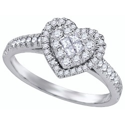 87845. Ladies Diamond Cluster Heart Ring