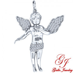 S087. 925 Silver Crystal Angel Pendant