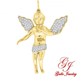 S068. 925 Silver Yellow Gold Plated Crystal Angel Pendant