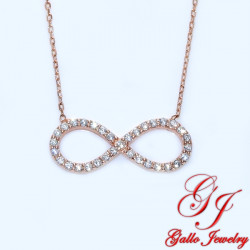 S0125. 925 Silver Crystal Rose Gold Plated Infinity Pendant