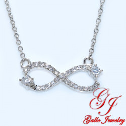 S0102. 925 Silver Crystal Infinity Pendant