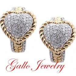 ER00709.Two Tone Diamond Heart Shape Huggie Earrings