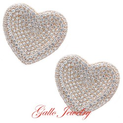 S043. Sterling Silver Crystals Heart Earrings
