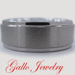 22295 Ridged Edge Brushed & Polished Tungsten Carbide Wedding Band