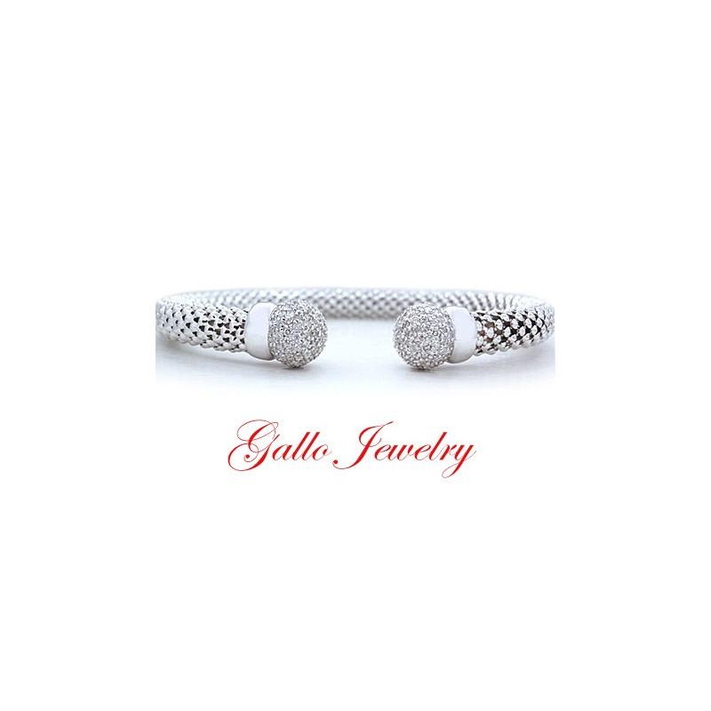 ban la s diamond italian flexible mesh cuff bangle bracelet