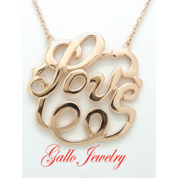 "S050. 925 Sterling Silver Rose Gold Plated ""Love"" Pendant"