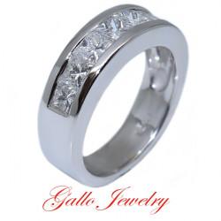 WB00338. Ladies Channel Setting, Princess Cut Diamond Wedding Band