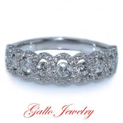 LR00448B. Ladies Fancy Halo Diamond Wedding Band