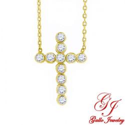 S058. 925 Silver Crystal Cross Pendant