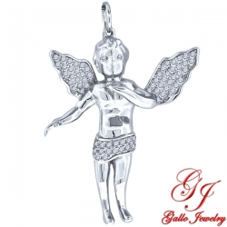 S087. 925 Silver Crystal Angel Pendant