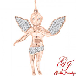 S086. 925 Silver Rose Gold Plated Crystal Angel Pendant