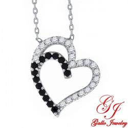 S064. 925 Silver Black & White Crystal Heart Pendant