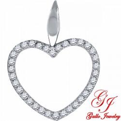 S077. 925 Silver Crystal Heart Pendant