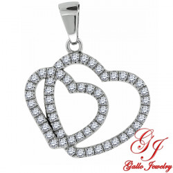 S078. 925 Silver Crystal Double Heart Pendant