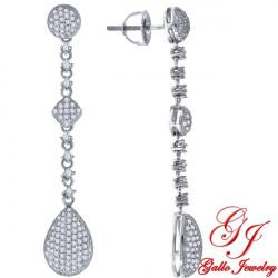 S079. 925 Silver Crystal Fancy Drop Earrings