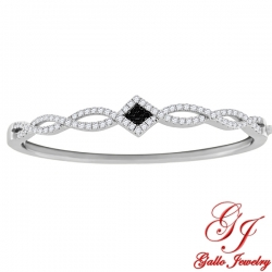 S0104. 925 Silver Black & White Crystal Bangle Bracelet