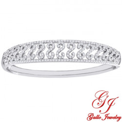 S0105. 925 Silver  White Crystal Fancy Bangle Bracelet
