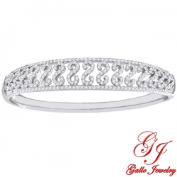 S0105. 925 Silver  White Crystal Fancy Bangle Bracelet
