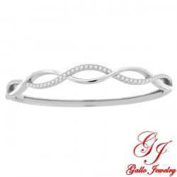 S0106. 925 Silver  White Crystal Twisted Bangle Bracelet