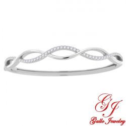 S0106. 925 Silver  White Crystal Twisted Bangle Bracelet