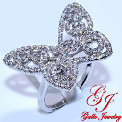 S052. 925 Silver Crystal Butterfly Ring