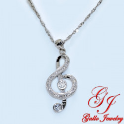 S0118. 925 Silver Crystal Music Key/Note Pendant