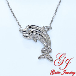 S0126. 925 Silver Crystal Two Dolphins Pendant