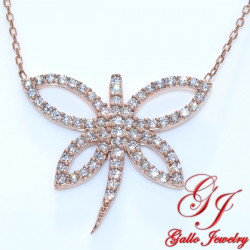 S0124. 925 Silver Crystal Dragonfly Pendant