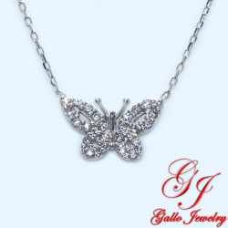 S0123. 925 Silver Crystal Butterfly Pendant