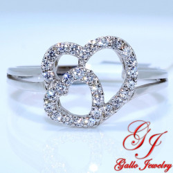 S093. 925 Silver Crystal Two Hearts Ring