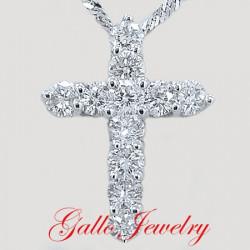 Pen00179A. Diamond Cross Pendant(Longer Style)
