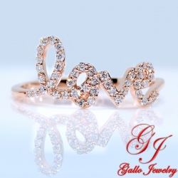 "LR01232. Ladies Rose Gold Diamond  ""LOVE"" Ring"