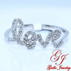 "LR01232B. Ladies White Gold Diamond ""LOVE"" Ring"