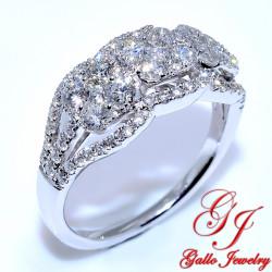 LR01186. Fancy Three Cluster Diamond Ring