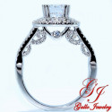 ENG01247. Fancy Side View Diamond Halo Engagement Ring