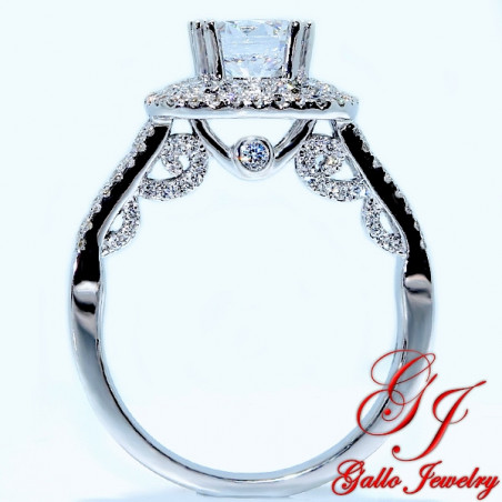 ENG01247. Fancy Side View Diamond Halo Engagement Ring (High Quality)  (Center Stone Sold Separately)