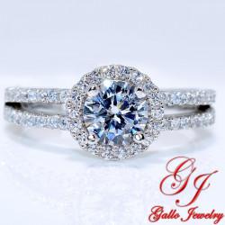 S0136. 925 Silver Split Shank Halo Engagement Ring