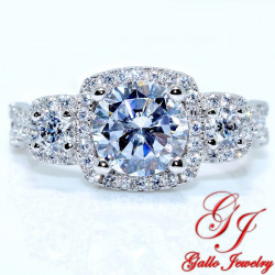 S0137. 925 Silver 3-Stone Halo Engagement Ring