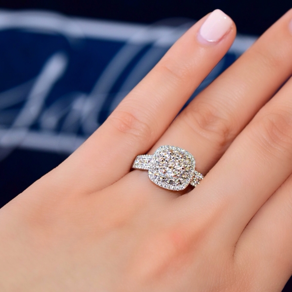 Fancy Side View Diamond Halo Engagement Ring Average Quality