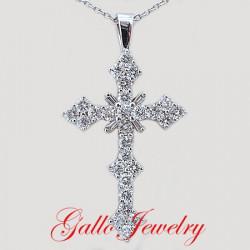 Pen00193. Fancy Diamond Cross Pendant