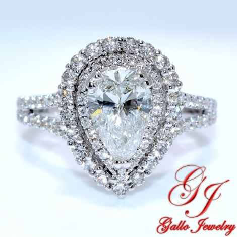 engagement gold wedding rings white bliss diamond unique set pear shaped ring