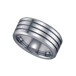 17824. Tungsten Grooved Ring