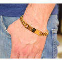 54652. Men's Yellow Gold Plated Stainless Steel Name Plate Bracelet