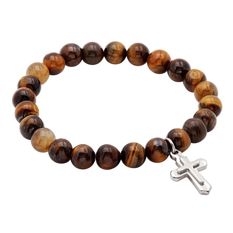 54645. Men's Stainless Steel Spiritual Cross & Beads Bracelet