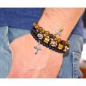 54645. Men's Stainless Steel Spiritual Cross & Chestnut Beads Bracelet