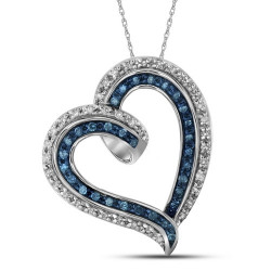 112094. Blue & White Diamond Heart Pendant