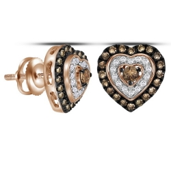 112130. Champagne & White Diamond Heart Stud Earrings