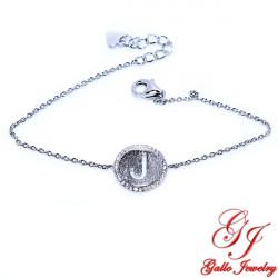 S0189.J. 925 Sterling Silver Initial 'J' Bracelet